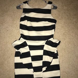 Black and off white dress